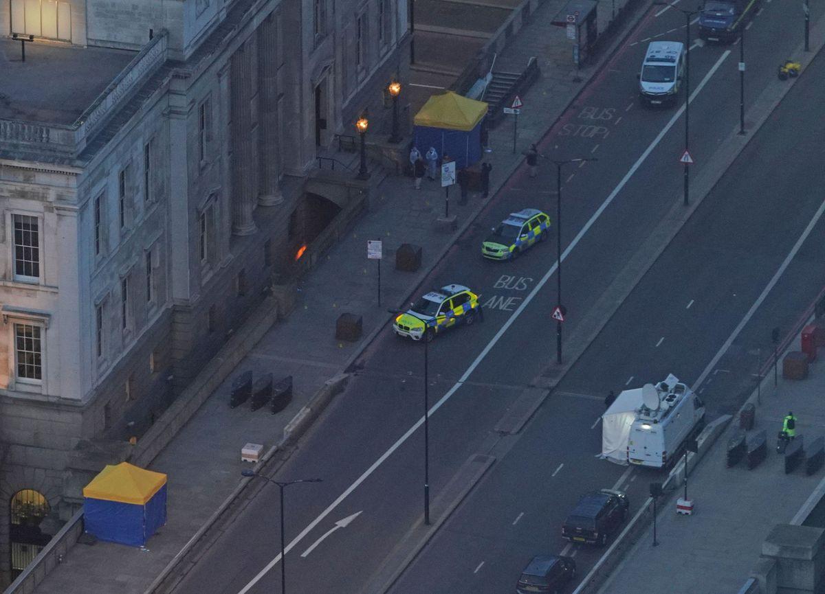 The scene on London Bridge in central London. Credit: Yui Mok/PA Wire