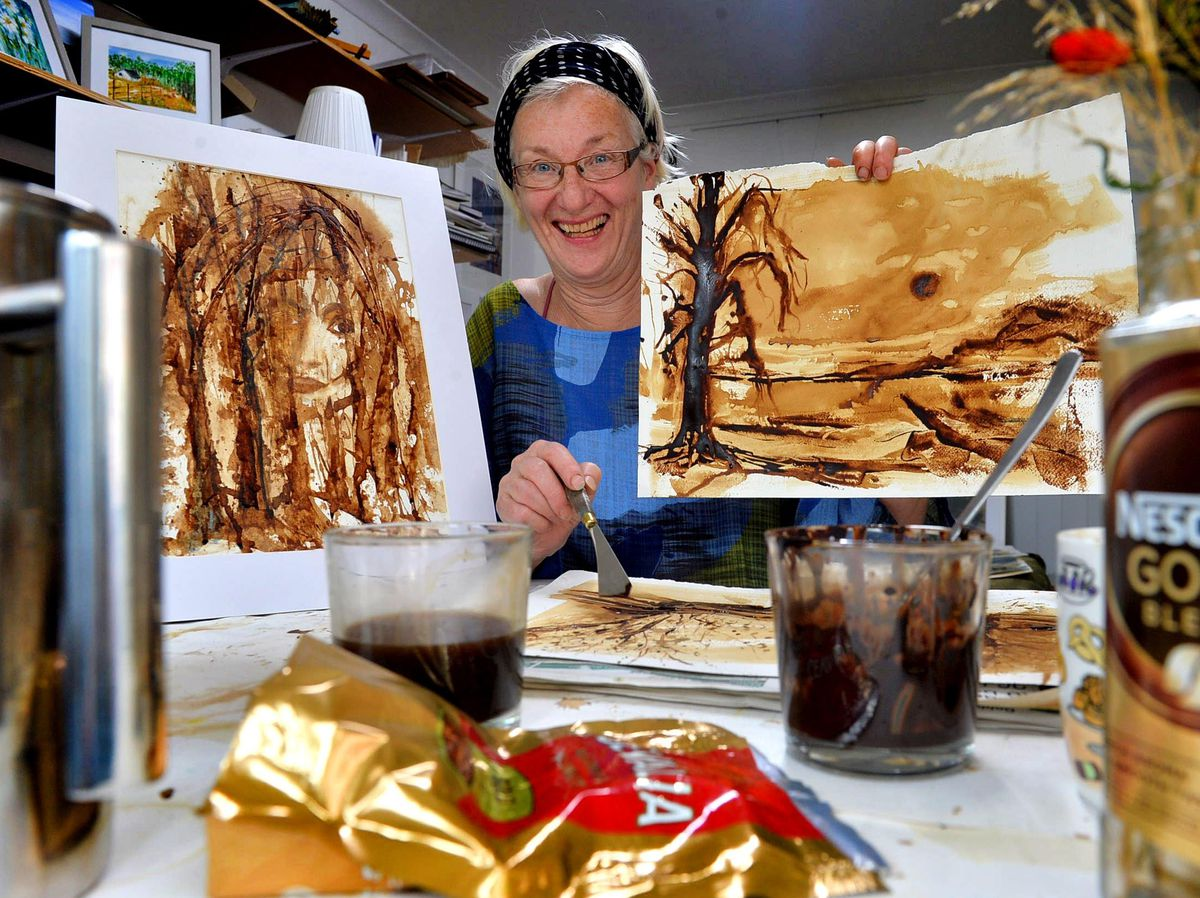 Artist Lena Jarl Churm who discovered coffee makes the perfect 'paint' for her artworks