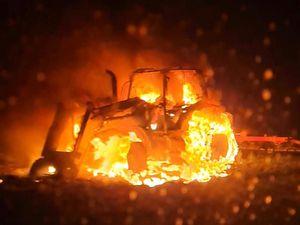The blazing tractor. Photo: Market Drayton Fire Station