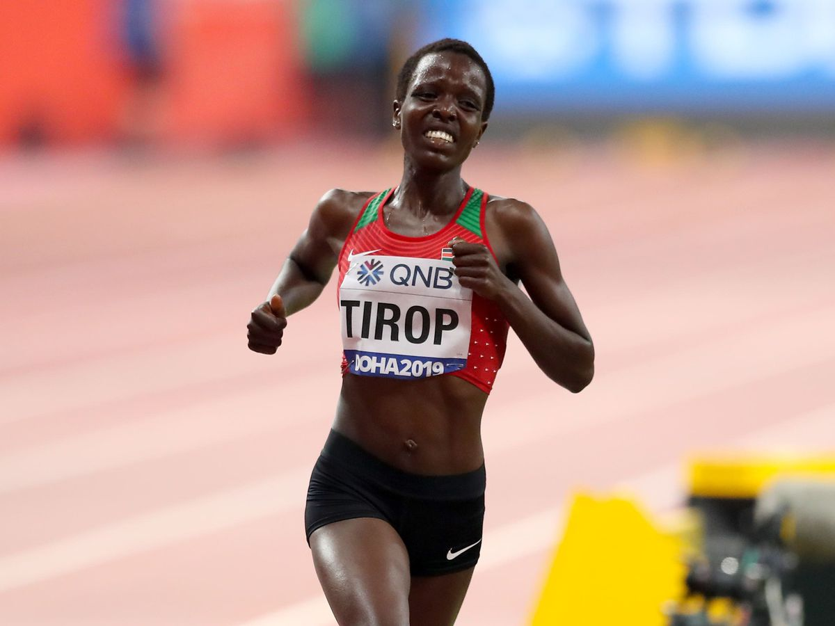 Agnes Tirop competes in the women's 10,000m
