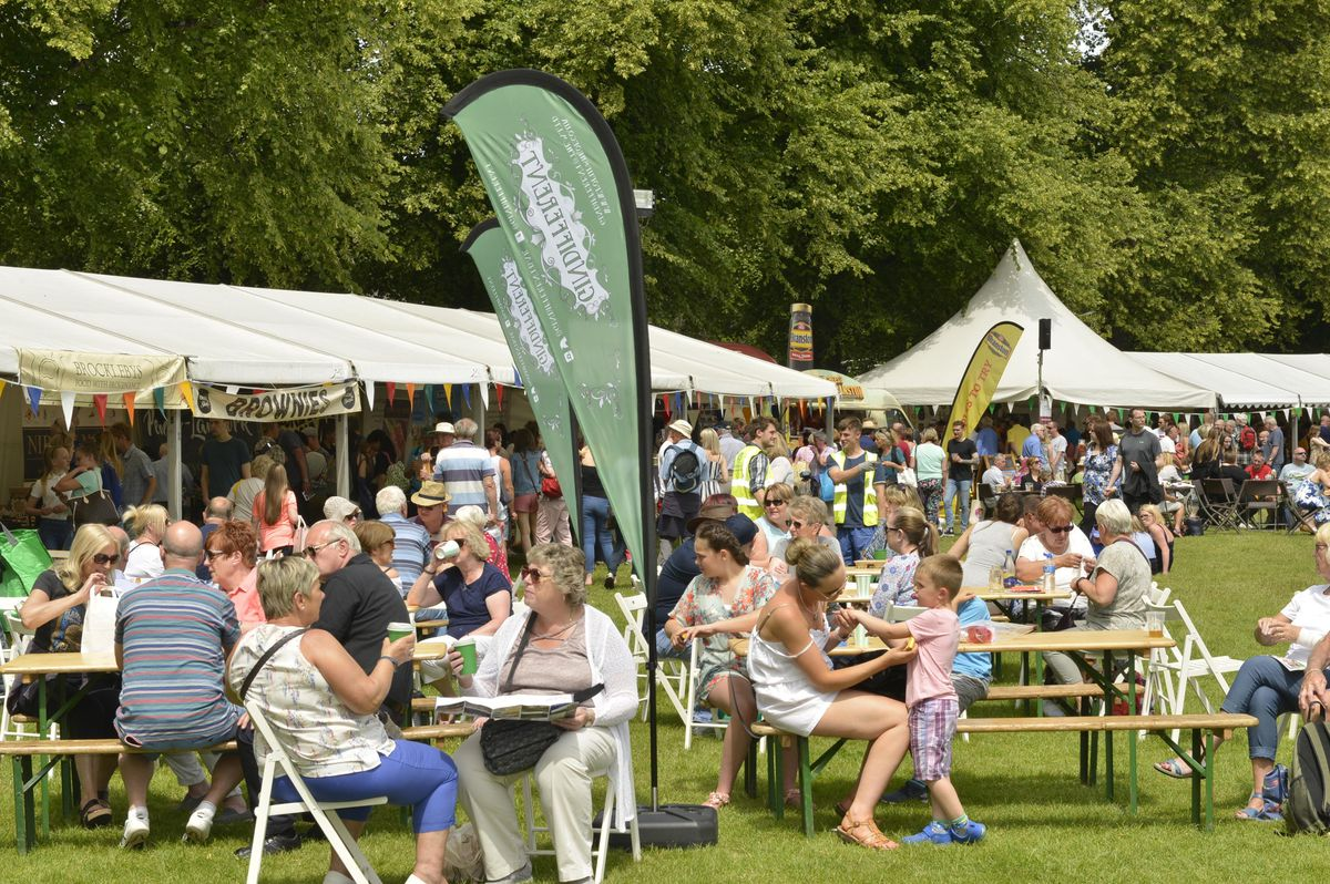 Crowds enjoying the fine weather at the food festival in 2018