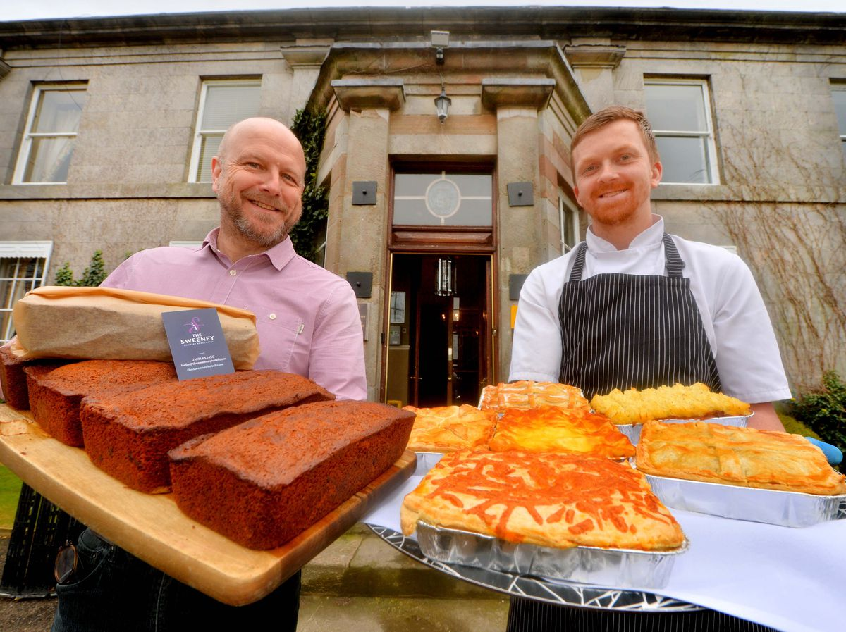 The Sweeney Hotel and Restaurnat, Owner: Sean Evans and Chef: Thomas Roberts, with a selection of cakes and delicious pies. Due to current virus situation there will now be offering a new take away service.