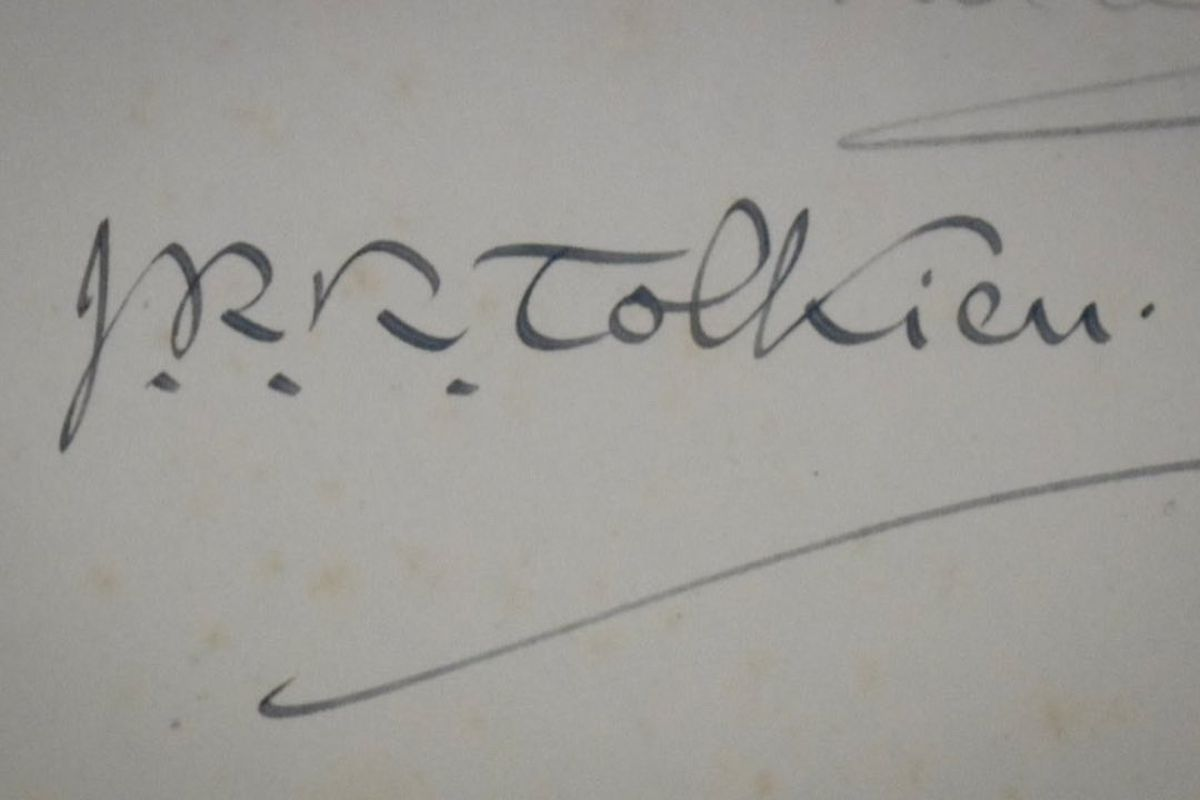 JRR Tolkien's signature in the book