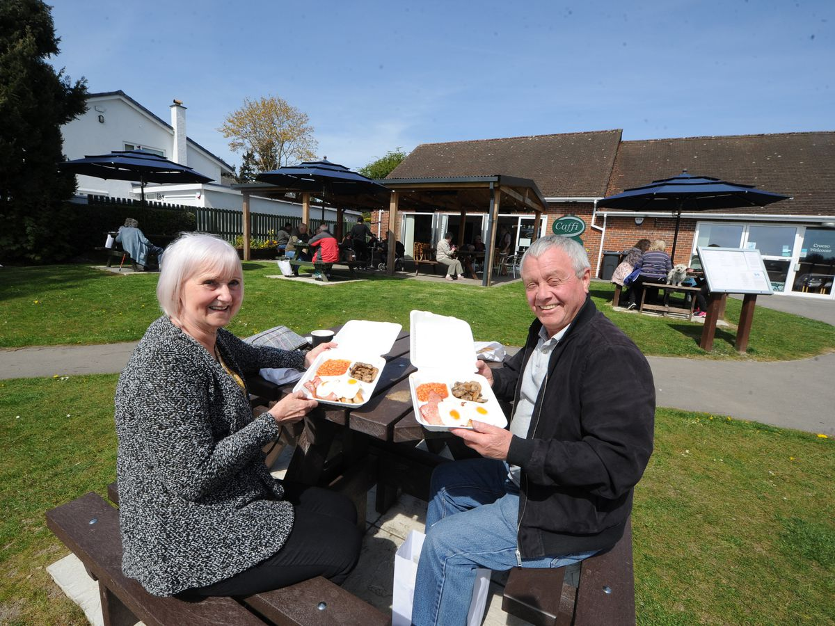 Enjoying breakfast outdoors at Caffi Wylfa in Chirk were Gill Selley and Andy Tindall