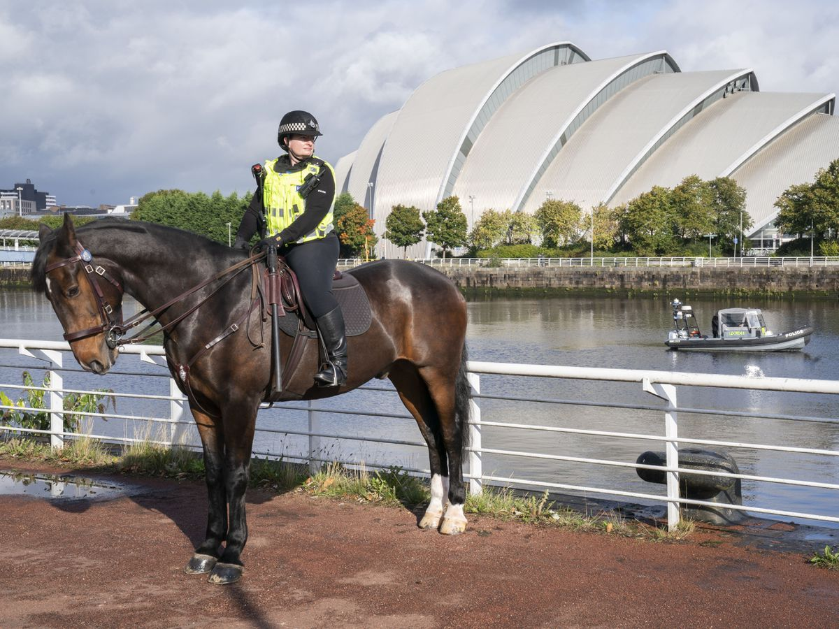 A mounted police officer in Glasgow