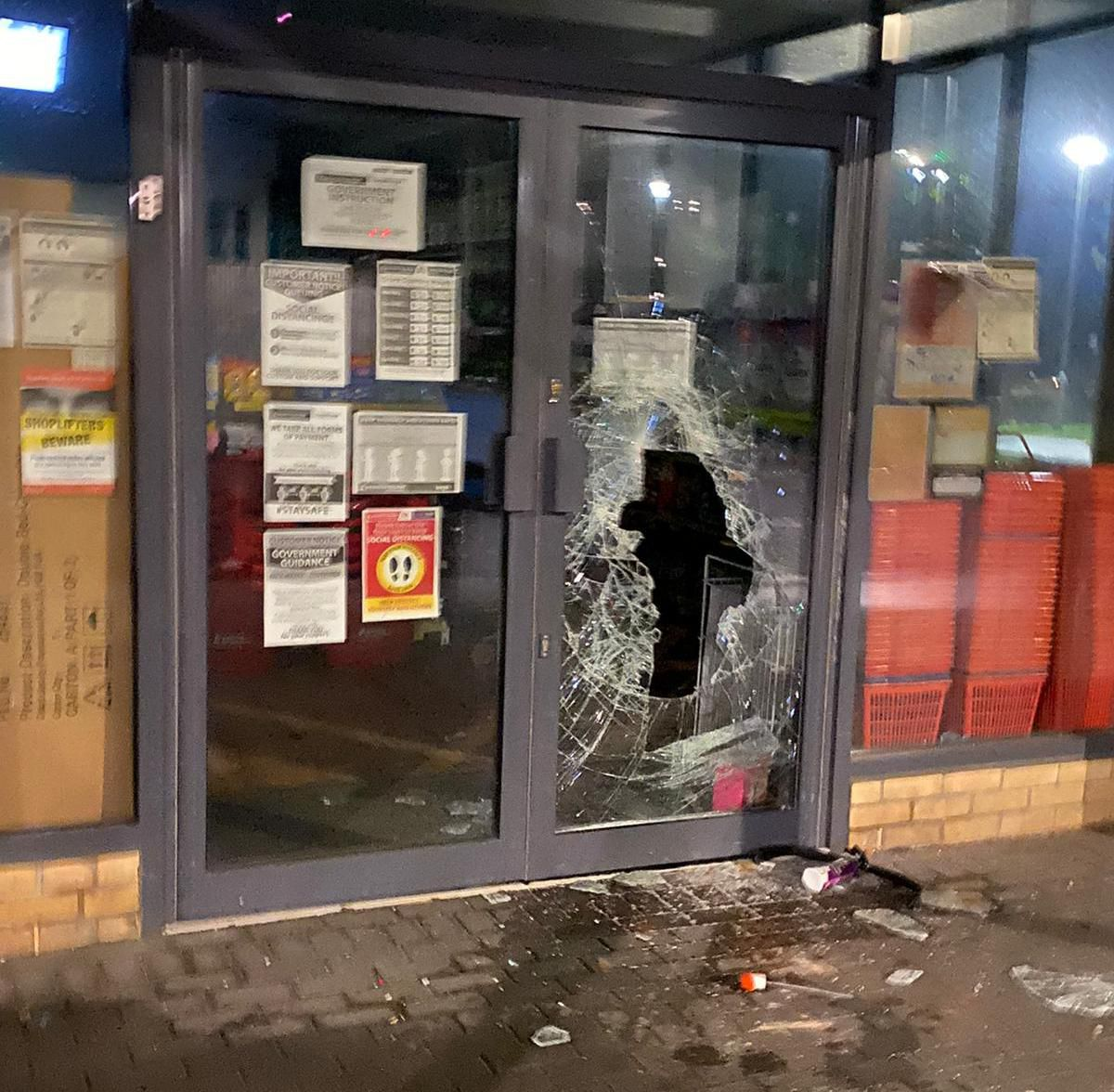 The front door of the Poundstretcher in Madeley, which was broken into this morning