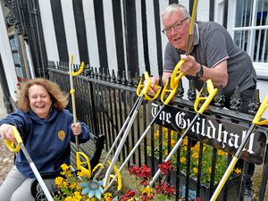 Newport town clerk Sheila Atkinson and mayor Peter Scott