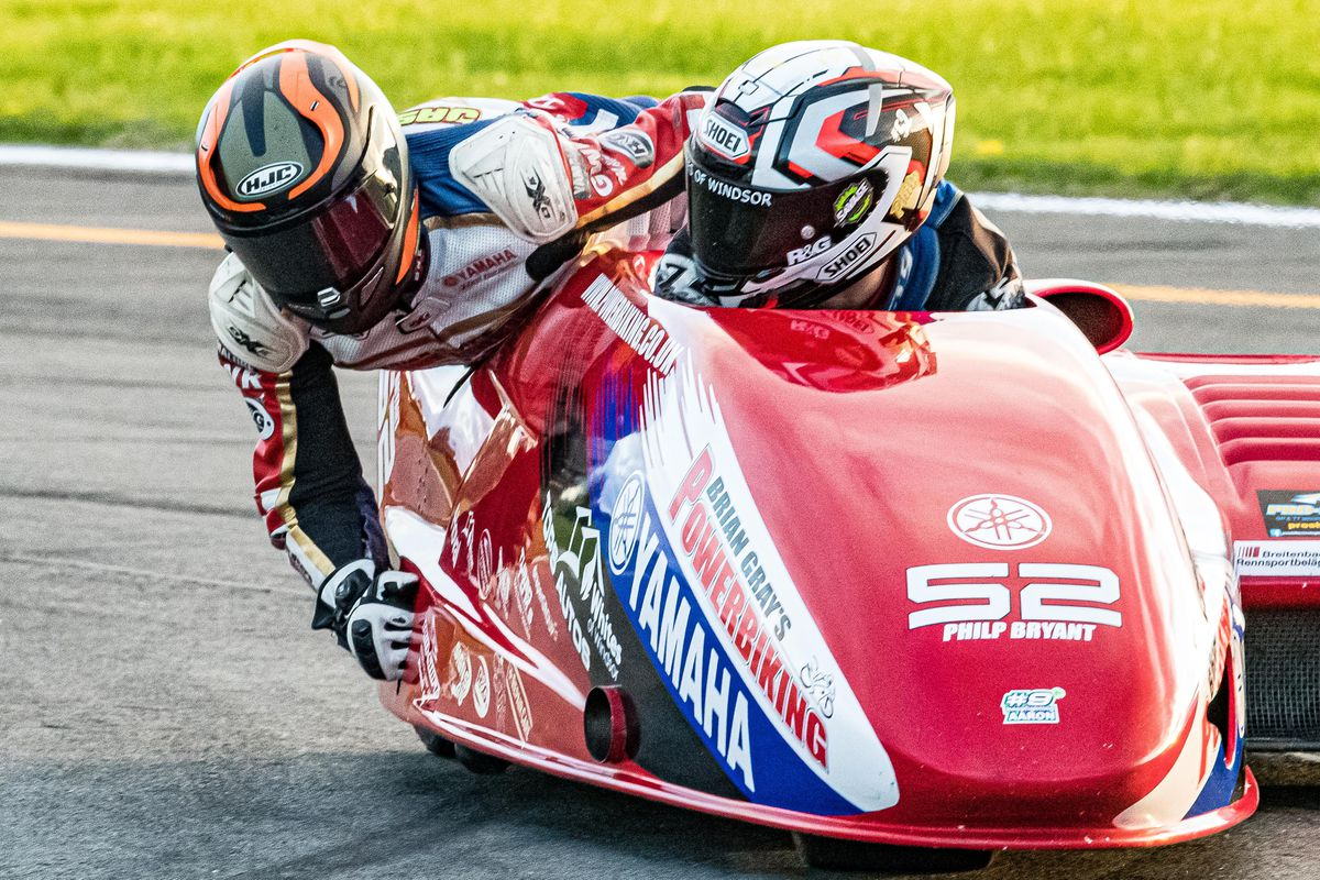 Passenger Tom Bryant will be racing in the British F1 Sidecar series. Picture: Barry Clay