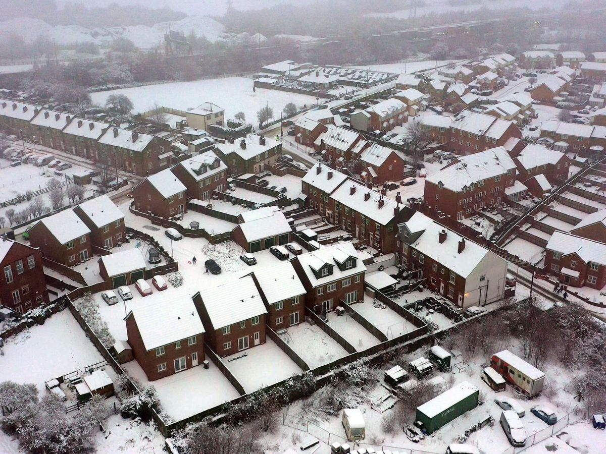 Snow on houses in East Ardlsley, West Yorkshire