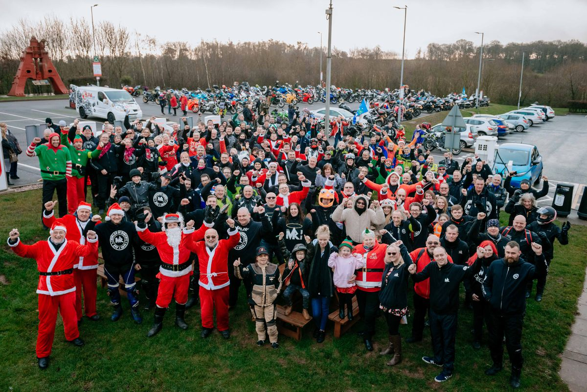 The Midlands Riders met at Telford Services before riding to Royal Shrewsbury Hospital
