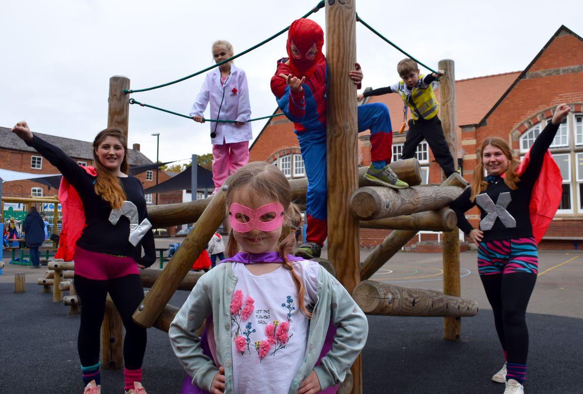 At Coleham Primary School's superhero day were (left to right) Lola Kobuszynska, six (front), Mrs Stennett, Grace Andrews, six, Oliver Nayman, six , Noah Millar, six, Miss Gregory