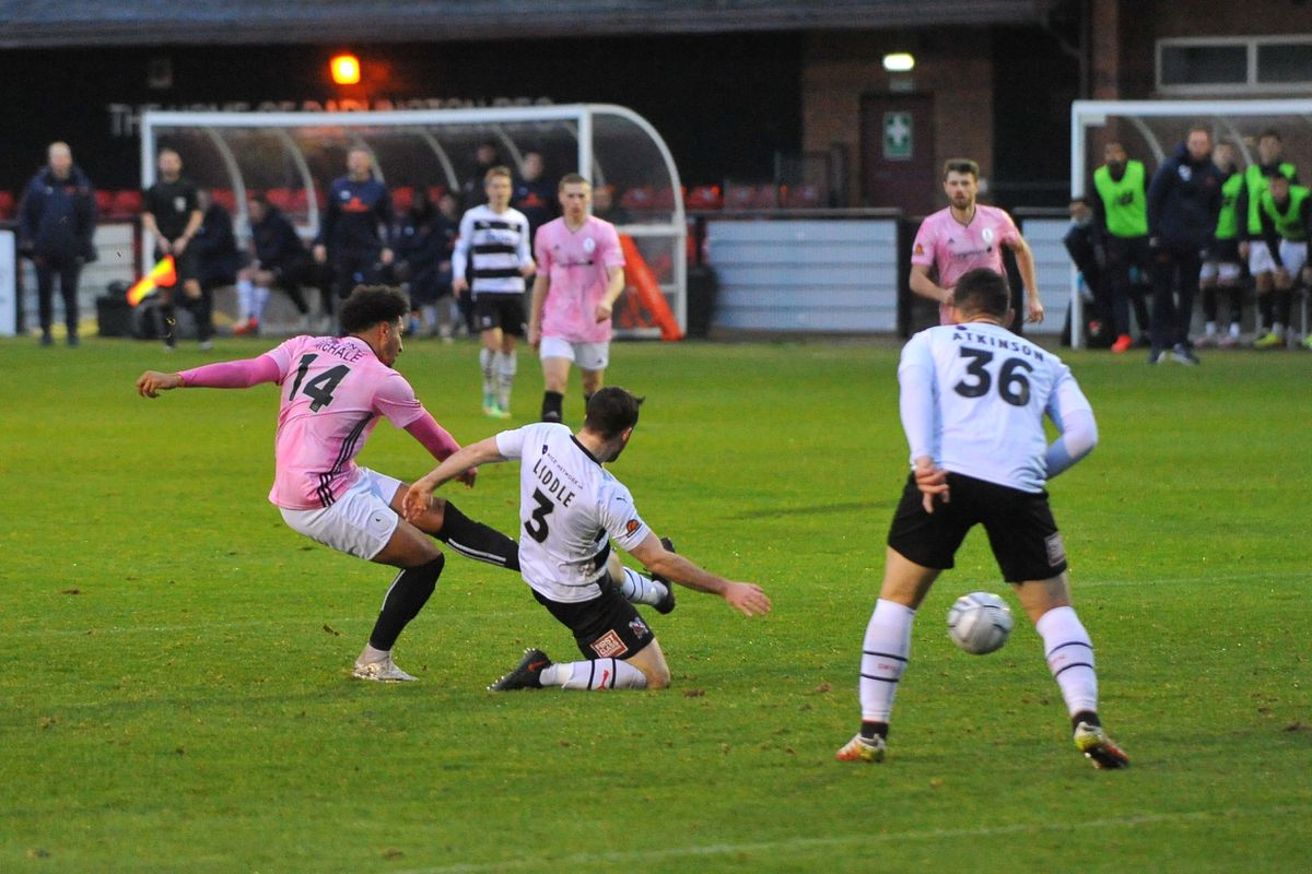 Dom McHale of Telford scores to make it 2-1