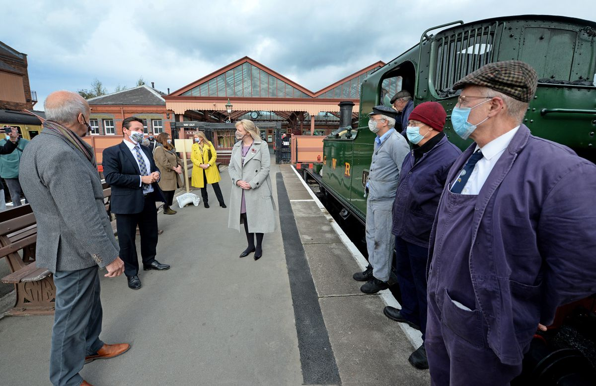 Minister for Sport, Tourism and Culture Nigel Huddleston visits the Seven Valley Railway yesterday