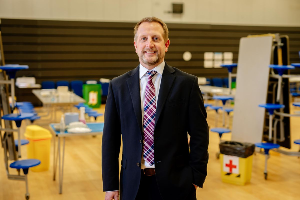Headteacher Andy McNaughton at the Covid lateral flow testing centre at Charlton School in Wellington, Telford