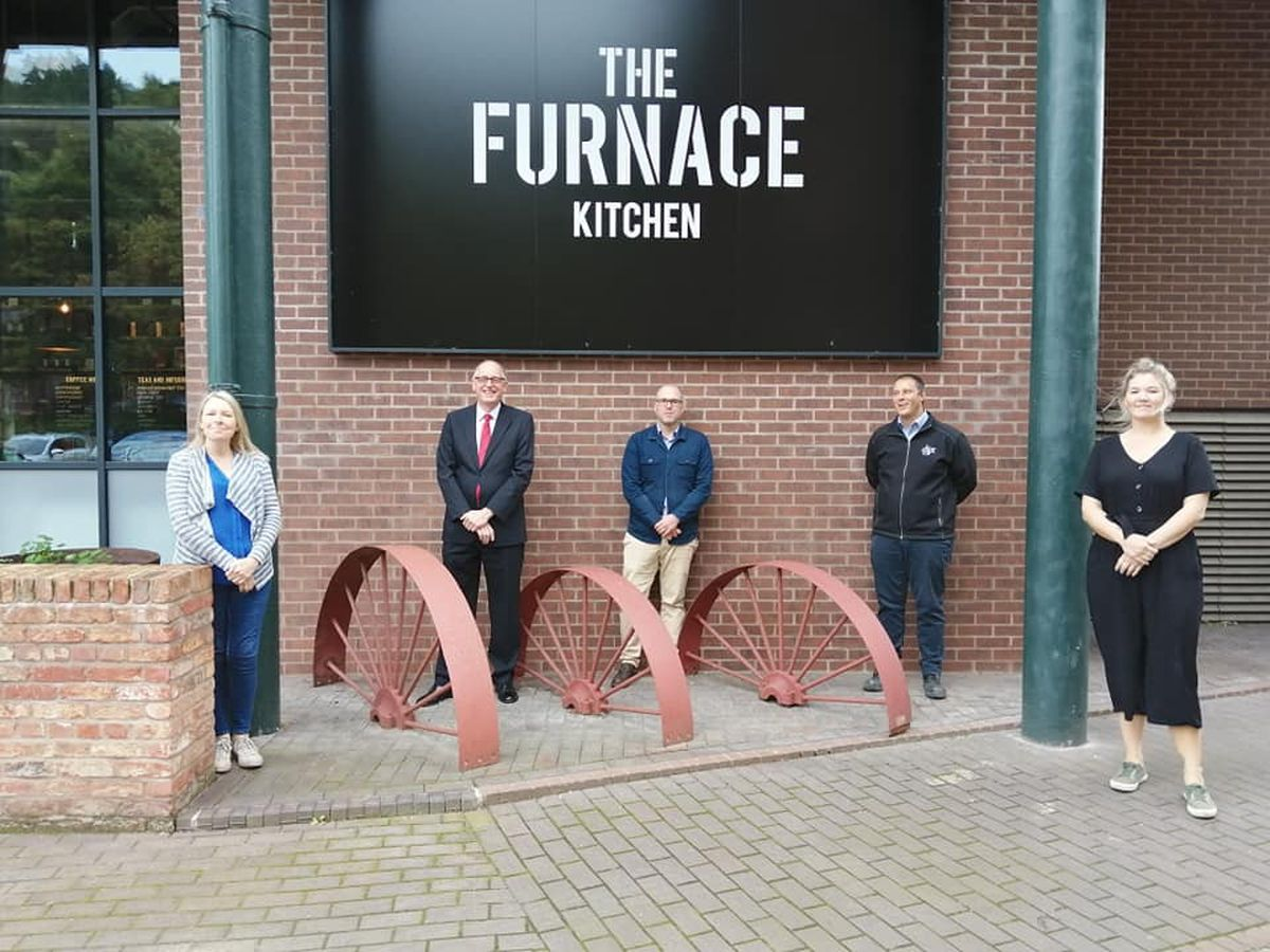 Ironbridge Gorge Councillor Carolyn Healy, Councillor David Wright, Ian Edwards of Osborne Architects, council building control manager Joe Strafford and Eve Snowdon of The Furnace Kitchen