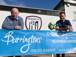 Barringtons director Phil Wood, left, and Hodnet FC manager Matthew Allen