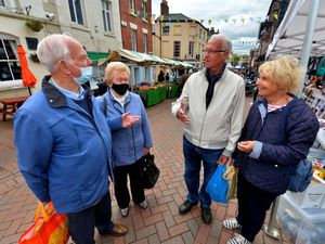 Gareth and Tegwen Jones and David and Sondra Rowlands in Oswestry for market day