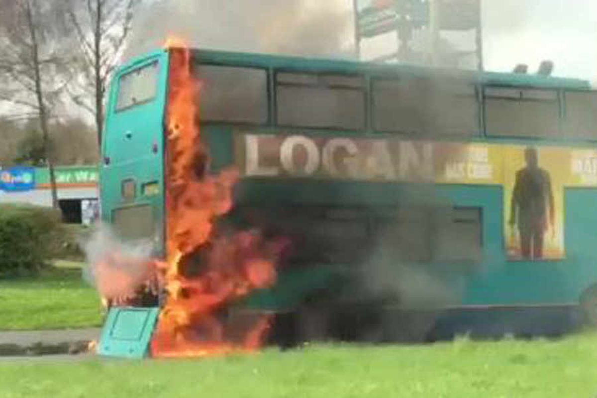 Bus catches fire near Telford retail park - with video and pictures