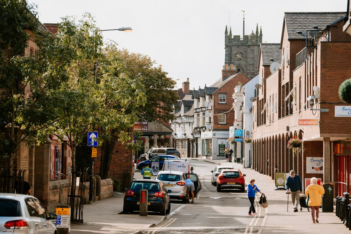 A modern view up Cheshire Street, showing a totally changed street scene.