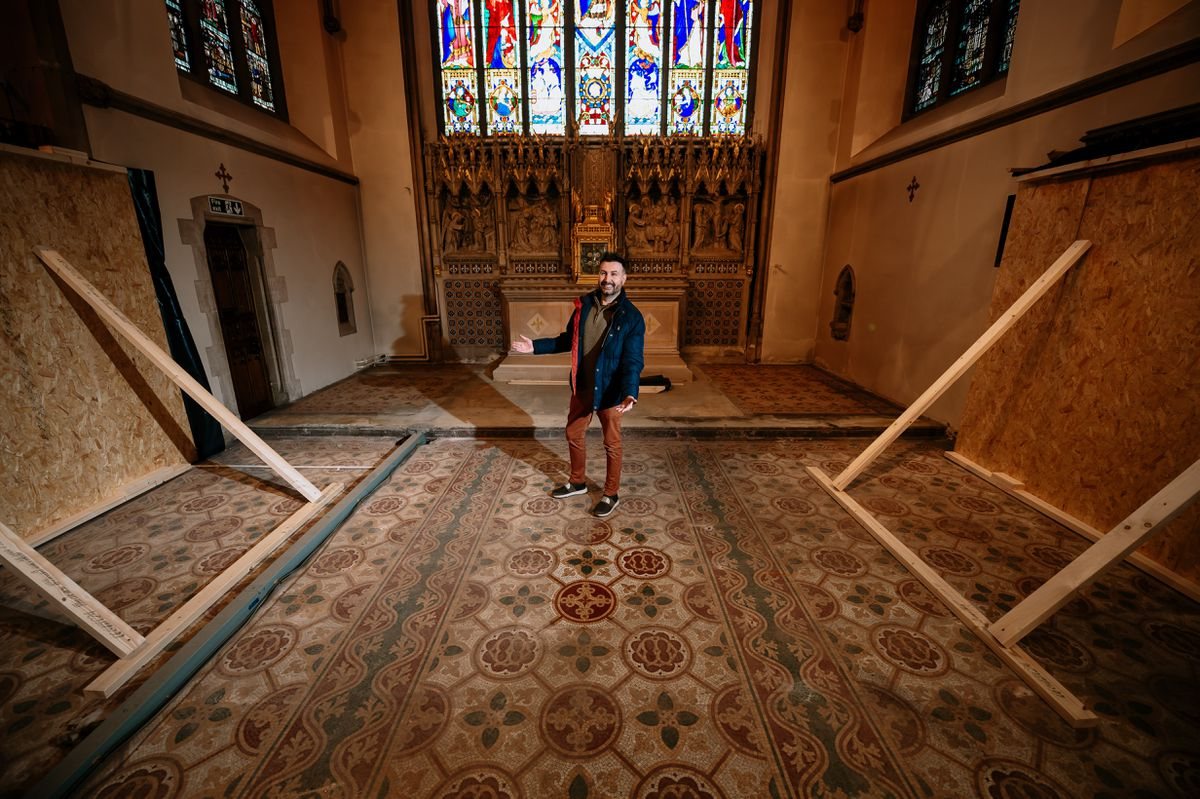Richard Keddie, development officer at the cathedral, admires the mosaic tiles