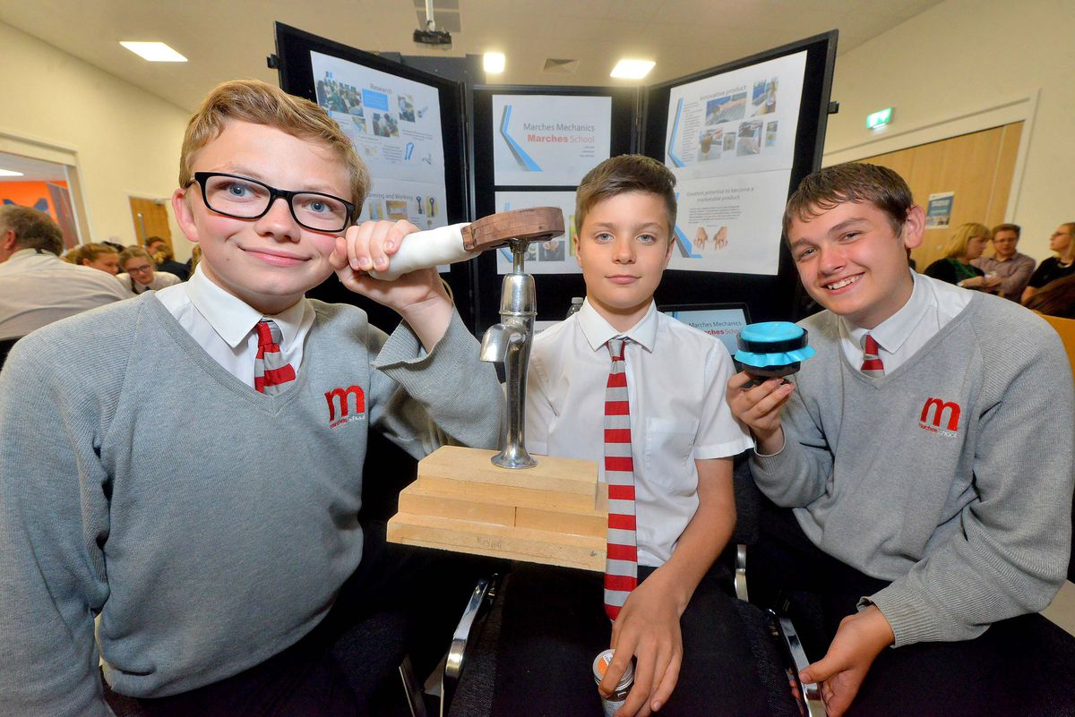 The Marches School, and a device for people with arthritis etc to help use and taps and other devices: Luke Steel, 13, Jake Barrett, 14, and Ethan McEade, 14