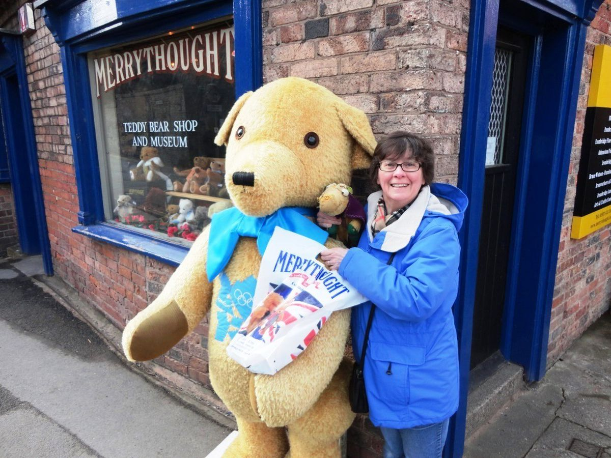 Katharine Shearing with her Merrythought as a child and then again at the Merrythought shop in 2012