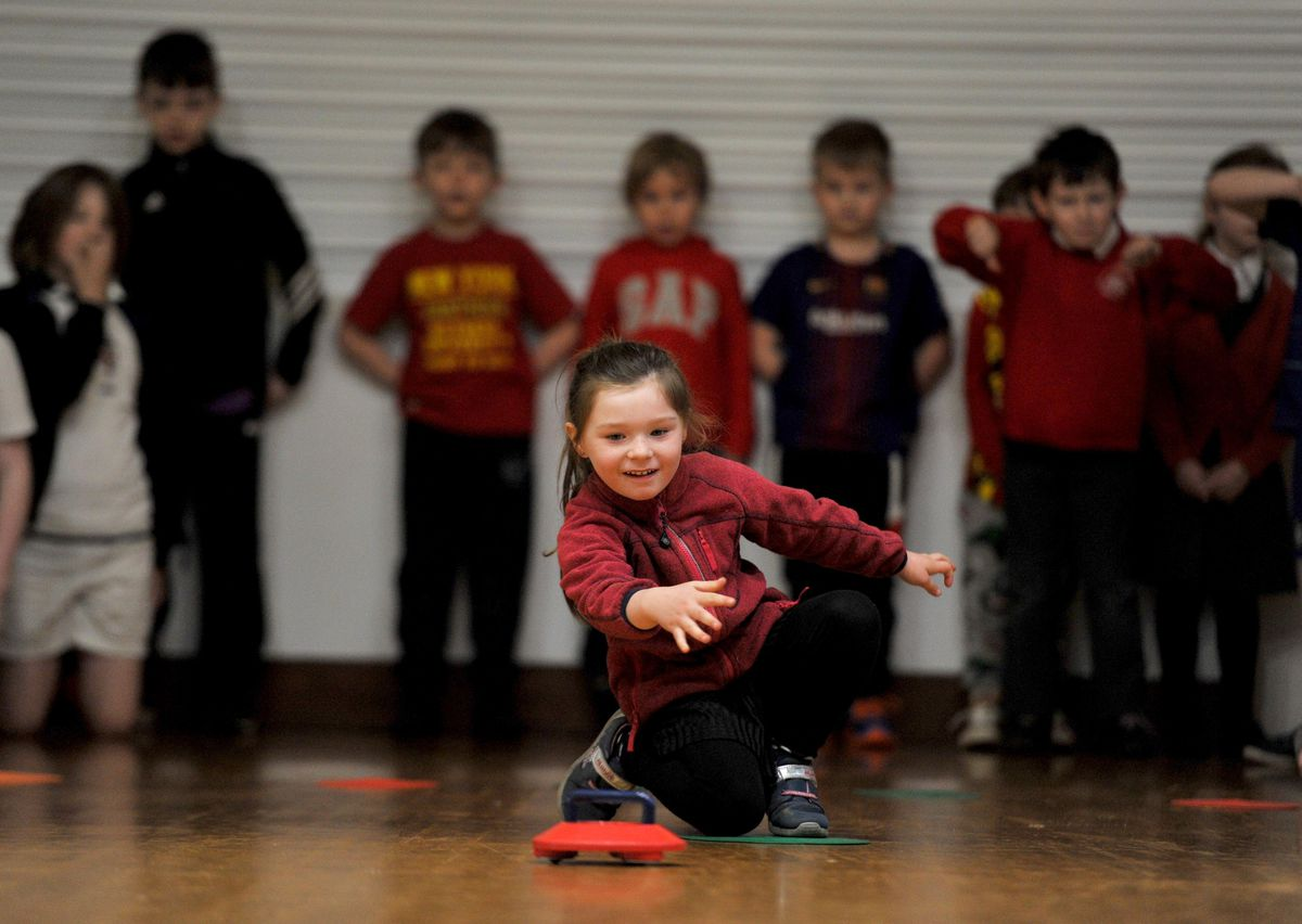 Pupils from Stoke-On-Tern Primary School get in the sporting spirit during a sponsored kurlathon event