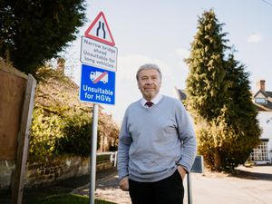 Councillor Andrew Eade near Pitchcroft Lane where articulated lorries are still trying to access even with a sign in place