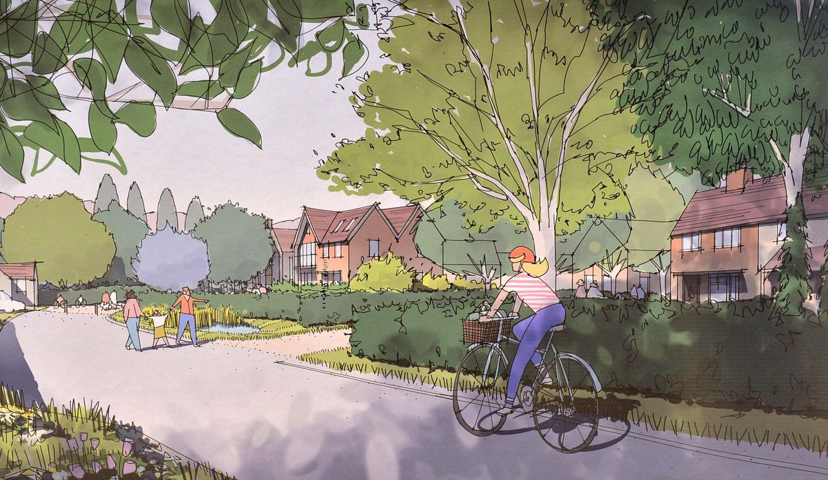 Plans on display for the proposed development. Church Lane looking West.