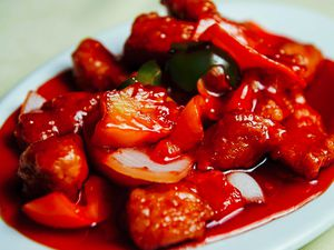This richly colourful sweet and sour chicken is one of the many main courses on offer at  Legend's Cantonese Restaurant