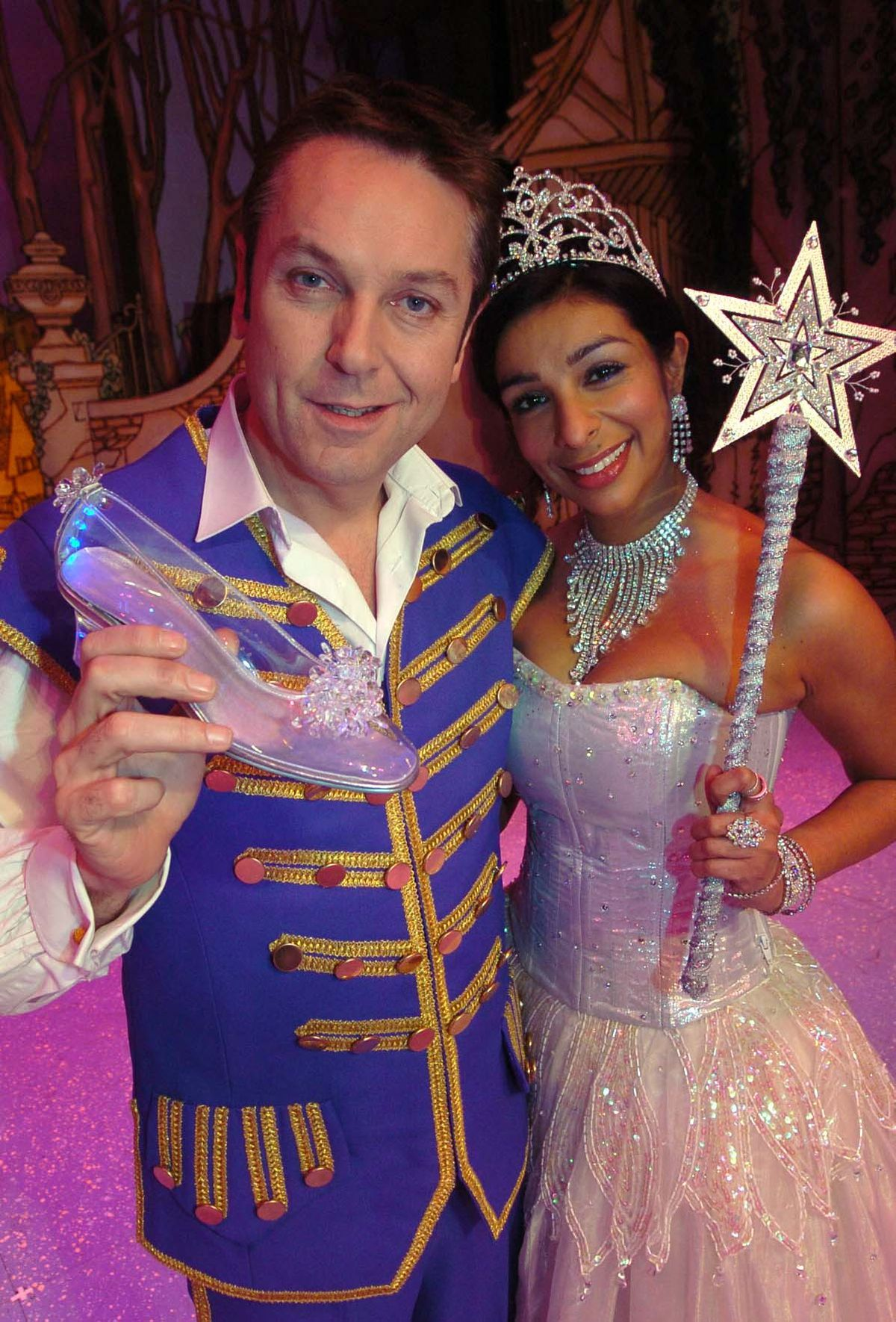 Brian Conley as Buttons and Shobna as the Fairy Godmother in the 2006 Birmingham Hippodrome pantomime
