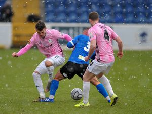 Jordan Davies of Telford battles for the ball during the Vanarama Conference North fixture between AFC Telford United and Chester FC