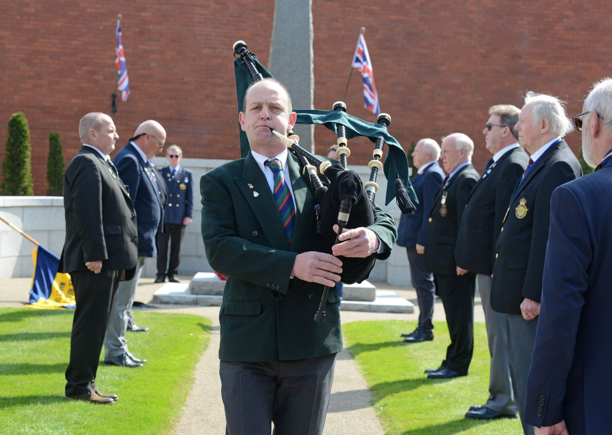 Piper Alan Kirby at a commemoration event for Prince Philip at the war memorial in Market Drayton