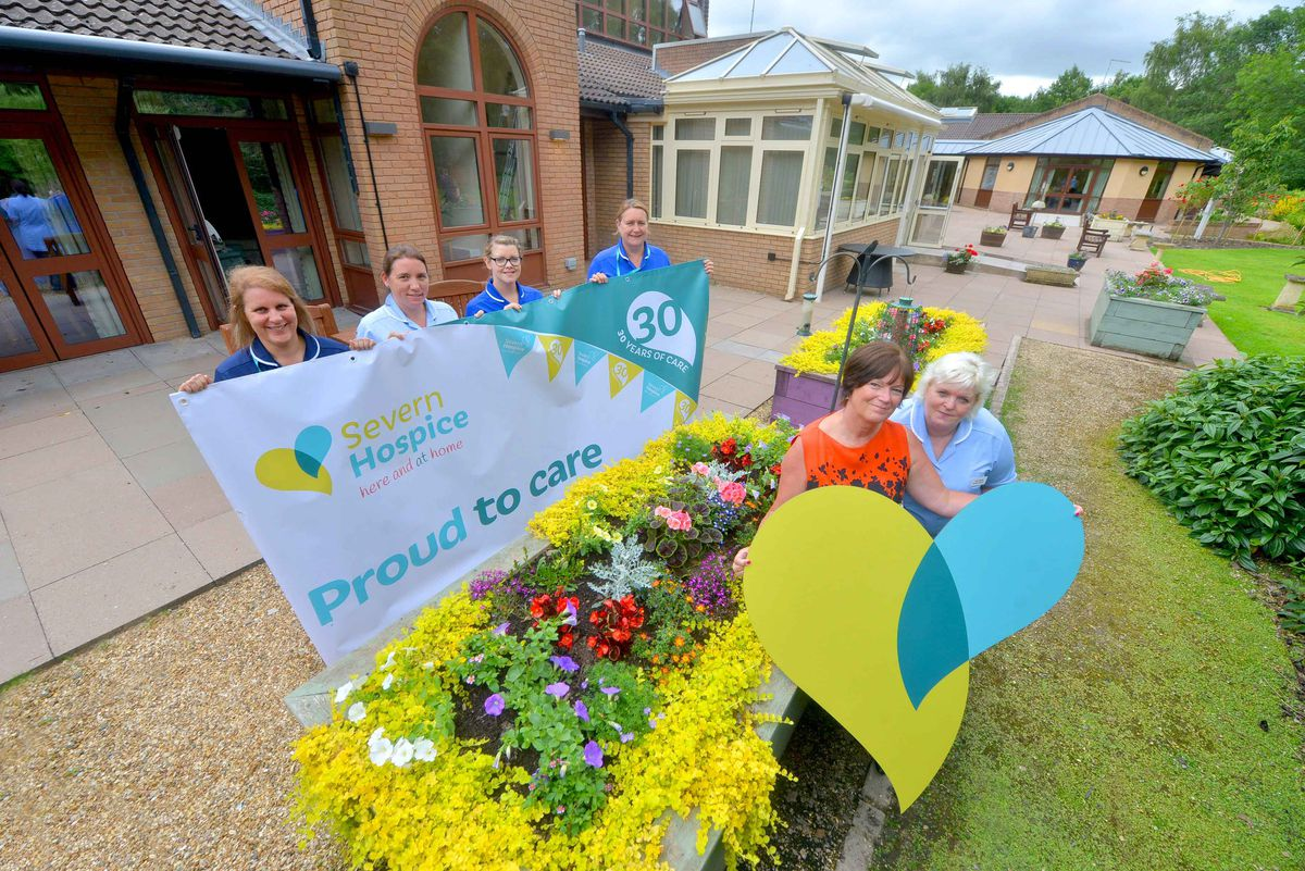 Severn Hospice staff members Zoe Thomas, Claire Mundy-Gill, Isal Conway, Caroline Underwood and, right, chief executive Heather Palin and Jean Risdon mark 30 years at the Shrewsbury site