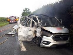 Driver injured as van explodes on Shropshire border road