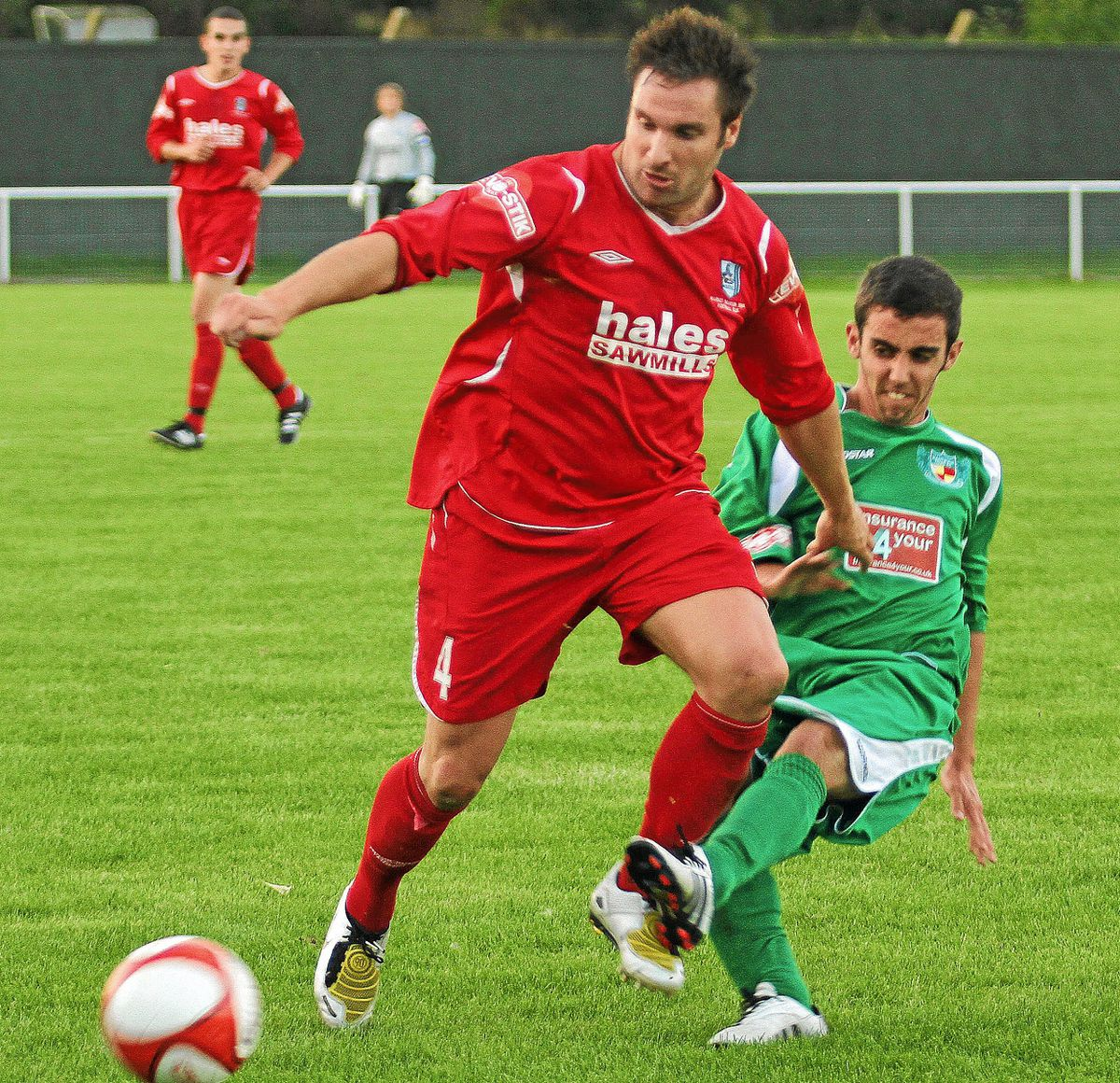 Former Shrewsbury Town star Steve Jagielka in action for Market Drayton Town against Nantwich. Picture by Terry Morris.