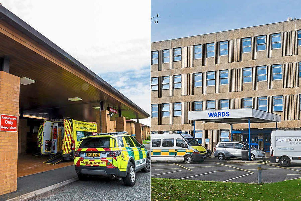 Princess Royal Hospital, Telford, left, and Royal Shrewsbury Hospital