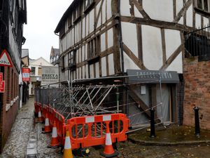 SHREWS COPYRIGHT TIM STURGESS SHROPSHIRE STAR...... 19/08/2020...    Vehicular access to Fish Street, Shrewsbury, is closed until September following what appears to be a recent vehicle strike to the timber-framed Bear Steps building...