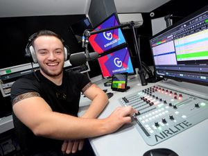 Station manager James Levett at the controls of the new Wolverhampton radio station Gorgeous FM