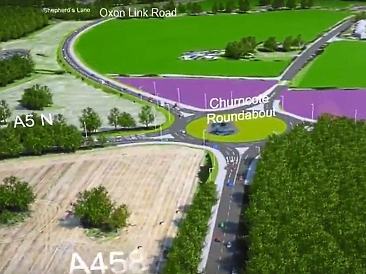 A still from a video of the proposed relief road route which features in the Shropshire Council-run exhibition