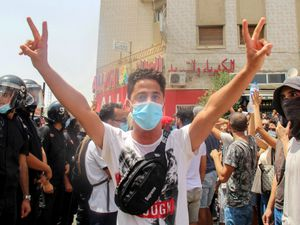 A protester in Tunis