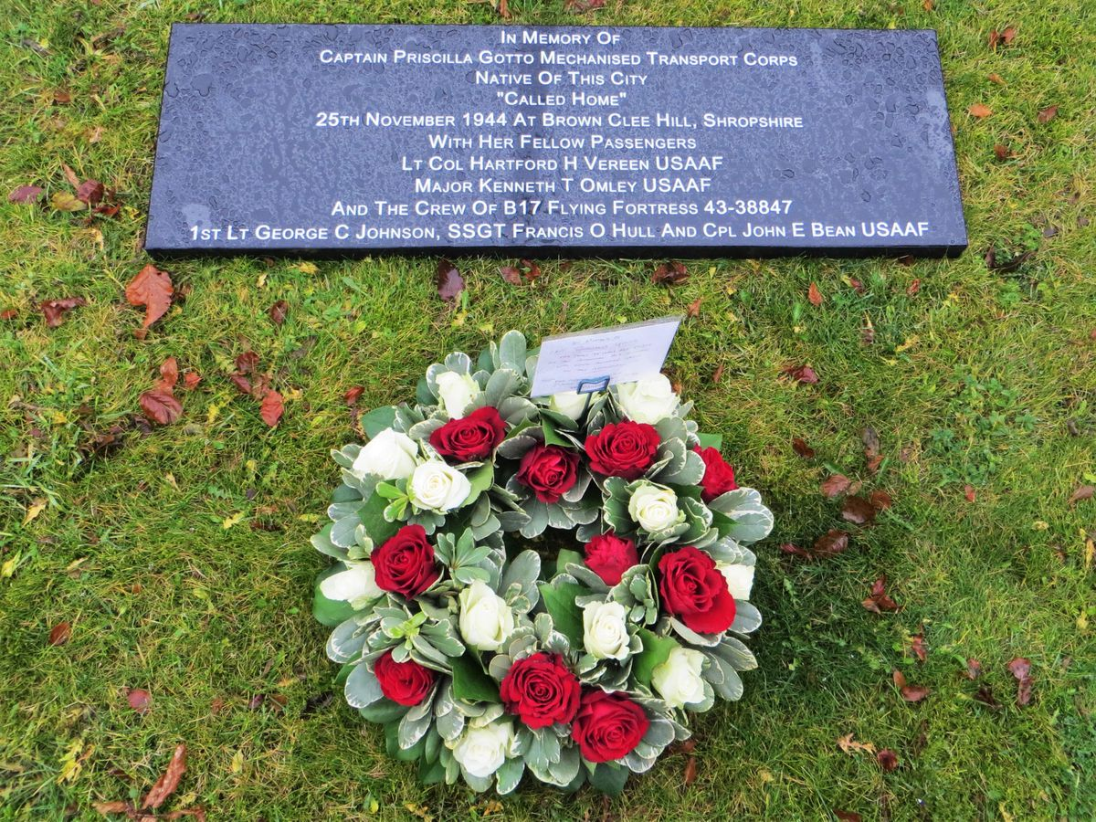 The wreath and memorial tablet, which could come to Shropshire if a site can be found