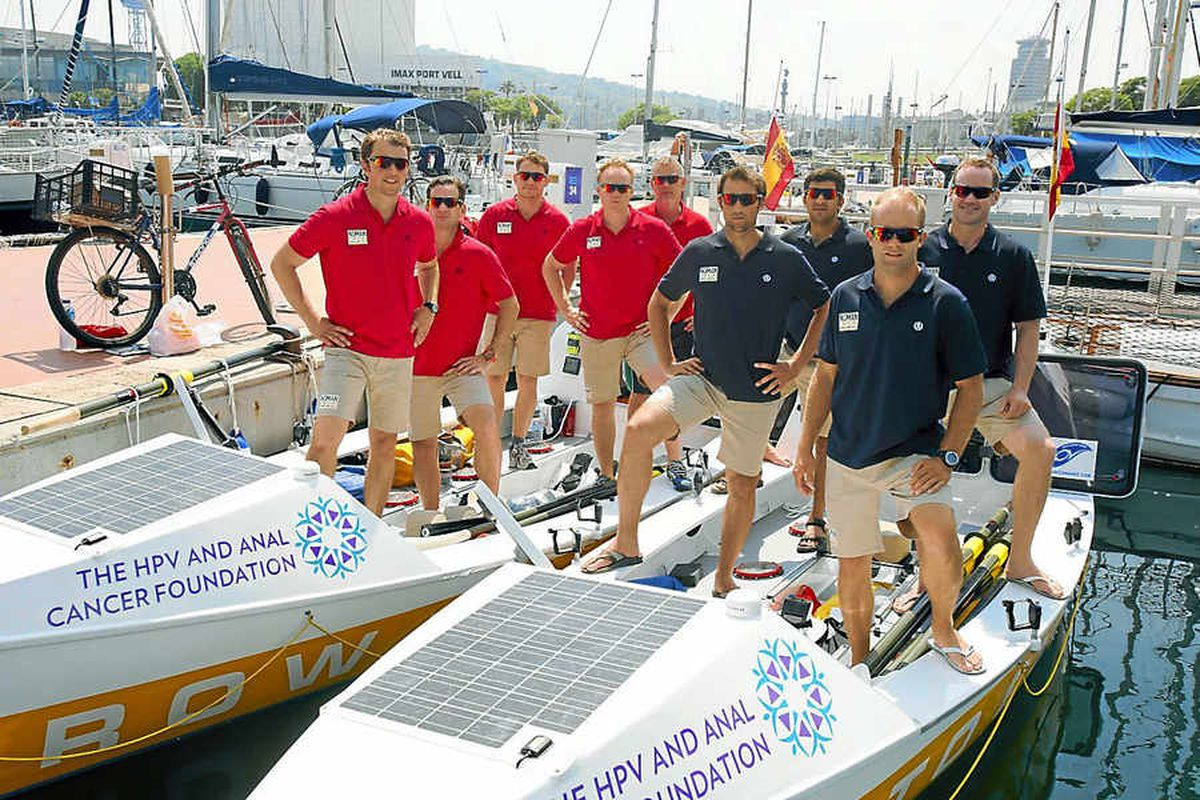 Douglas Love and Phil Shaw, right and second right, took part in the endurance ocean race from Barcelona to Ibiza