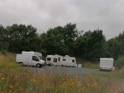 Travellers set up camp at Shrewsbury Battlefield site