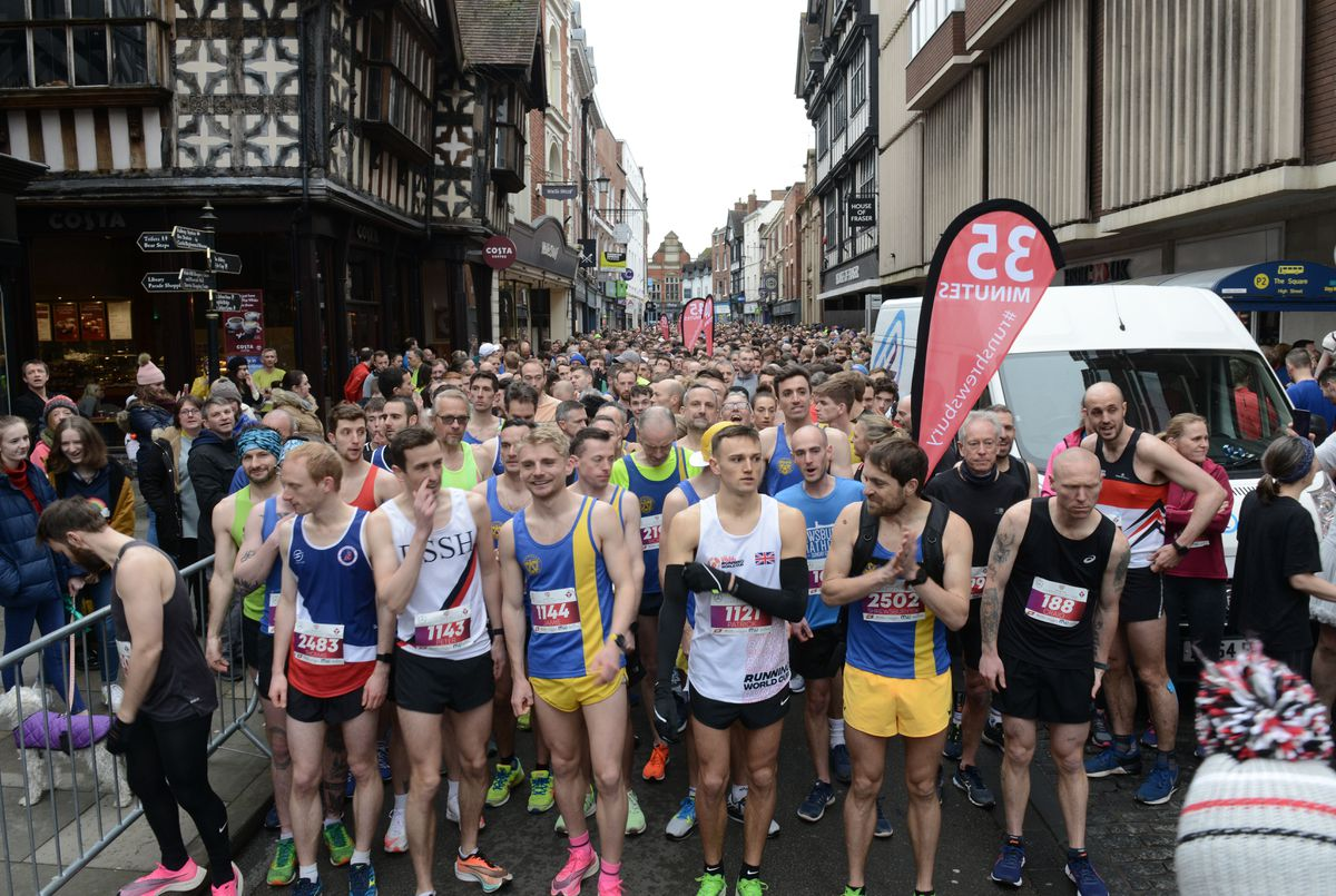 Runners pack the streets as they get ready to start the Shrewsbury 10K