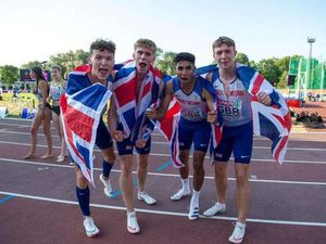 Charlie Carvell and his GB under-20s relay team after winning gold in the European under-20 Championship