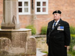 BORDER COPYRIGHT SHROPSHIRE STAR JAMIE RICKETTS 15/05/2021 - The County Chairman of The Royal British Legion for Ellesmere, Ian Williams, lays a wreath to mark 100 years of the Legion at St Mary's Church in Ellesmere. In Picture: Ian Williams..