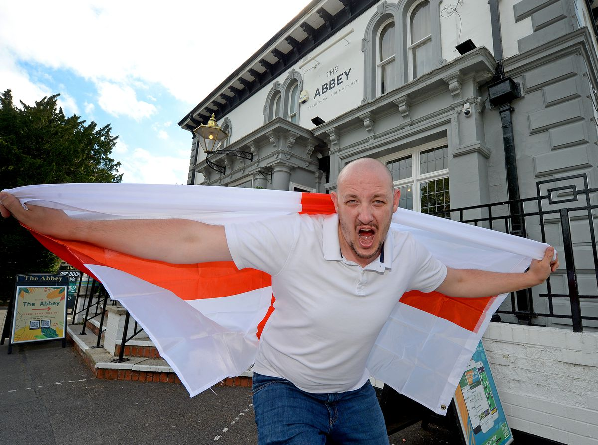 SHREWS COPYRIGHT MNA MEDIA TIM THURSFIELD 10/06/21 .Stuart Coates, general manager of The Abbey, Shrewsbury, gets set for the Euro Championships..