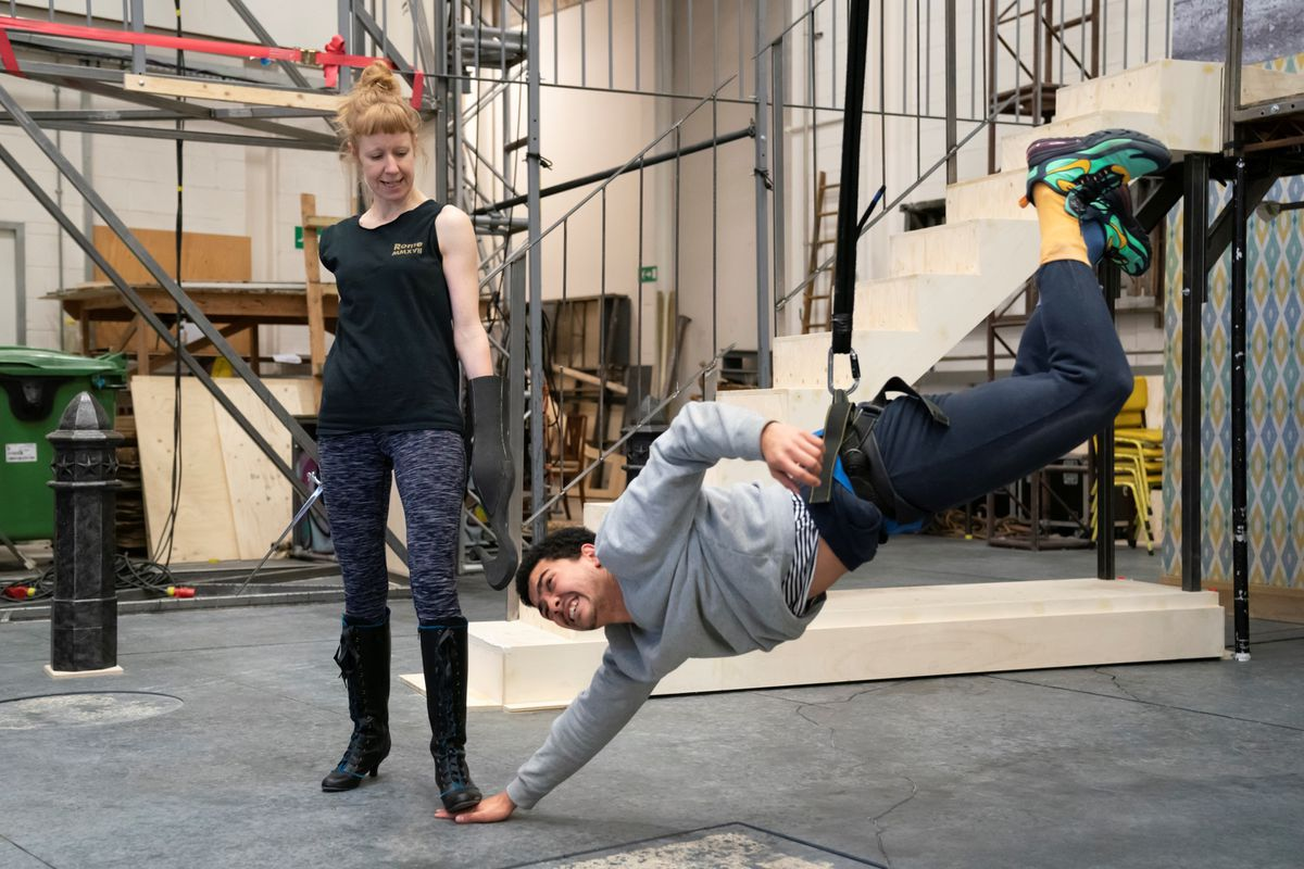 Lawrence Walker rehearsing for Peter Pan