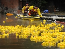 WATCH: Charity duck race brings bright spot to soggy bank holiday